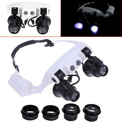 10X15X 20X 25X LED magnifier double eye glasses loupe lens jeweler watch repair~