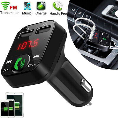 Wireless Bluetooth Handsfree Transmitter In Car MP3 FM Dual USB LCD Charger Kit