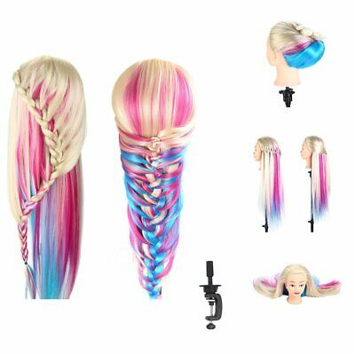 """26"""" Colorful Practice Training Head Model Hairdressing Head Mannequin Doll"""