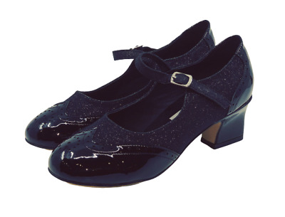 Ladies Close Toe Leather Dance Shoes in Black and Black Glitter