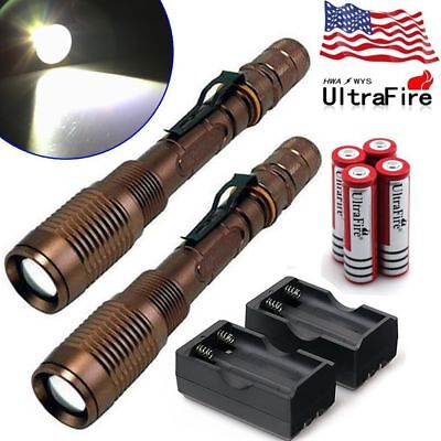 200000LM Police Tactical SWAT T6 LED 5 Modes 18650 Flashlight Torch Zoomable USA