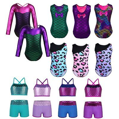 Girls Shiny Mermaid Ballet Dance Dress Gymnastics Leopard Leotards 2PCs Costume