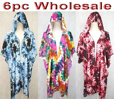 6pc Wholesale Hooded Women Cotton Summer Boho Hippie Top Free Size Mixed