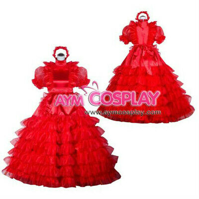 red Sissy Maid Satin-Organza long dress Tailor-Made