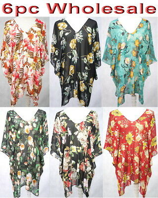 8pc Wholesale Large Women Summer Chiffon Beach Kaftan Boho Top Free Size Mixed