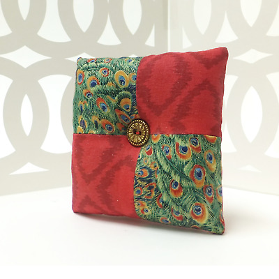 Square Shape Fabric Pin Cushion Needle Quilting Holder Red Sewing Craft Tool