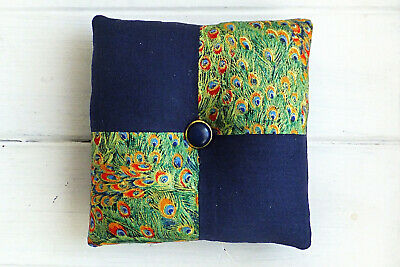 Square Shape Blue Pincushion Needle Quilting Embroidery Sewing Room Decor