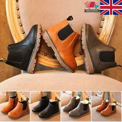 New Kids Boys Girls Fall Winter Warm Fur Lined Shoes leather Ankle Boots Chelsea