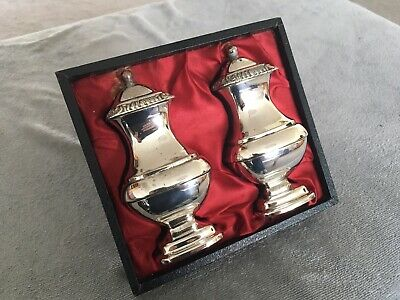 Antique / vintage quality Silver plated Grenadier salt and pepper pots with Box