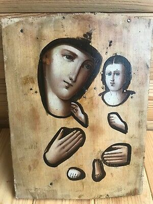 """Antique 19c Russian Orthodox Hand Painted Wood Icon """"Tikhvin Mother of God"""""""