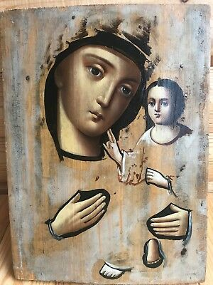 "Antique 19c Russian Orthodox Hand Painted Wood Icon ""Tikhvin Virgin"""