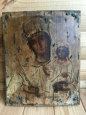 "Antique 19c Russian Orthodox Hand Painted Wood Icon ""Fadeless color"""