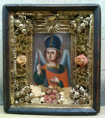 "Antique 19c Russian Orthodox Hand Painted Wood Icon ""the Archangel Michael"""
