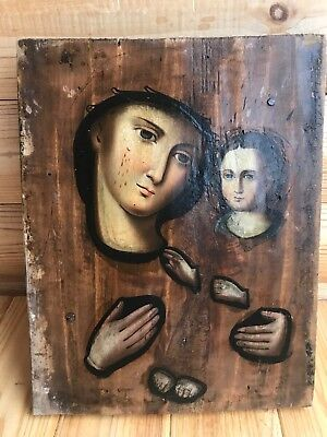 """Antique 19c Russian Orthodox Hand Painted Wood Icon """"Iberian Mother of God"""""""