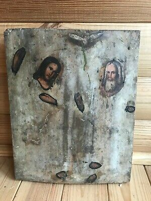 """Antique 19c Russian Orthodox Hand Painted Wood Icos """"The Holy Trinity"""""""
