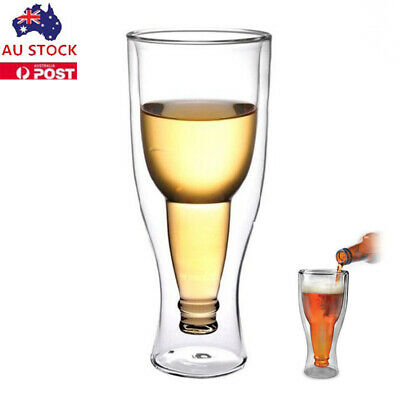 260ML 3D Glass Cup Beer Bottle Shaped Double Wall Glass Party Wine Drink Cup Mug