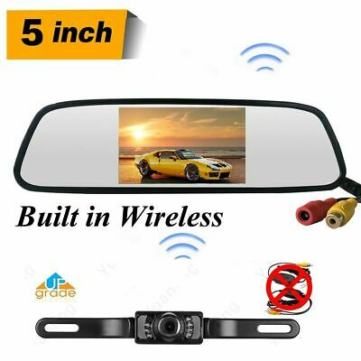 Built-in Wireless Car Rear View Parking System 5'' Mirror Monitor+Reverse Camera