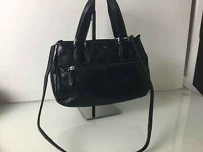 Tula Black Leather Mid Sized Top Handle Tote. Shoulder Strap. VGC.