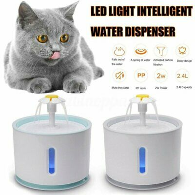 2.4L Automatic USB Circulating LED Drinking Bowl Cat/Dog Pet Auto Water Fountain