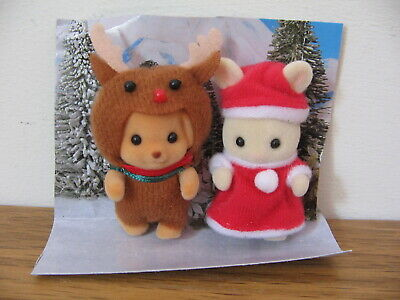 SYLVANIAN FAMILIES Christmas baby figures - poodle in reindeer outfit & rabbit