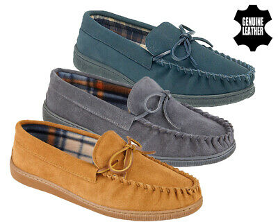 Mens Slippers Leather Indoor Warm Loafer Genuine Suede Moccasin Winter Shoes