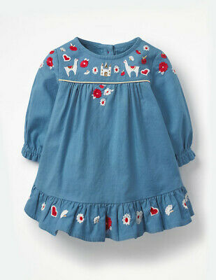 New Ex Boden Baby Jersey Collar Dress Flower Print Age 3-24 Mth 2-4 Yrs RRP £22