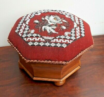 Antique Late Victorian Walnut Foot Rest Stool Beaded Floral Tapestry Top