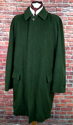 Burberry Mens Speciality Wool & Alpaca Coat Green Overcoat Check Lined XL 46 48