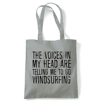 Voices In My Head Windsurfing, Tote - Reusable Shopping Canvas Bag Gift