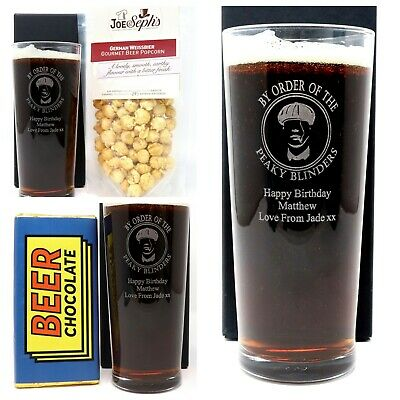 Personalised Peaky Blinders Pint Glass & Beer Chocolate / Popcorn Gift Dad/Daddy