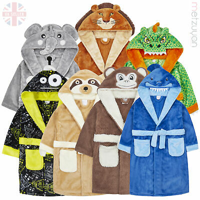 Boys Childrens Novelty Animal Costume Dressing Robe Gown Plush Fleece 2-6 Years