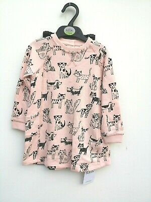 New Girls 2 Piece Tunic Dress Outfit  Black Pink Ex M&S Mix Age 2-3 Years