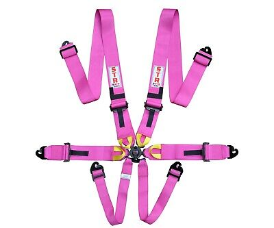 STR 6-Point Race Harness FIA 8853-2016 (2024) Safety Seat Belt IVA Safe - Pink