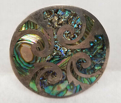 Antique Vintage Sterling Silver Mexican Taxco Abalone Mother of Pearl Pin Brooch