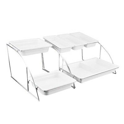 Catering Gn Gastronorm 1/2 Serving Trays System Stand 2-Tier Chrome Buffet Rack