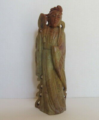 "Antique Chinese Republic Period Carved Soapstone Lady w/ Fan Figurine 4"" tall"