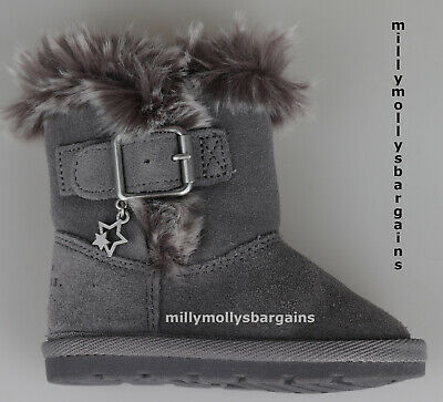 New Baby Girls Grey Leather NEXT Boots Size 4 Infant RRP £22