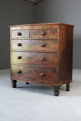 Antique Bow Front Victorian Mahogany Chest of Drawers