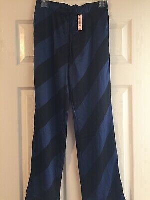 Victoria Secret Pajama Pants Feel Like Silk Black/navy Stripe NWT Size XS