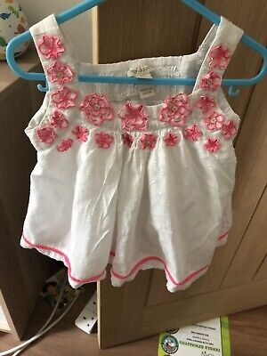 Baby Girl Monsoon White Summer Shorts Outfit Size 12-18 Months