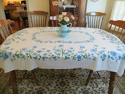 "Vtg.50'S-60'S Era Blue Floral Cotton Tablecloth Beautiful! 53""By 62"""