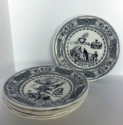 Rebus Picture Puzzles Dessert Plate Set Gien China Made in France Set of 6