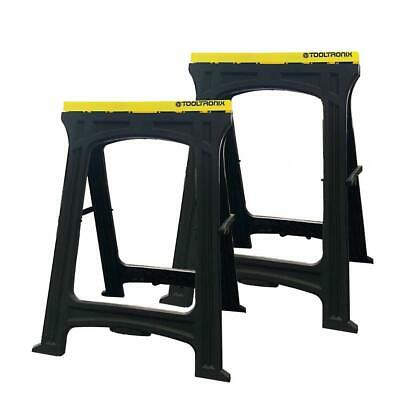 ToolTronix Folding Saw Horse Trestle Twin Support Bars Cutting Stands Work Bench