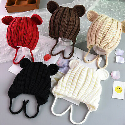Warm Ear Protection Solid Baby With Ears Children Gift Knitted Cute Kids Hat