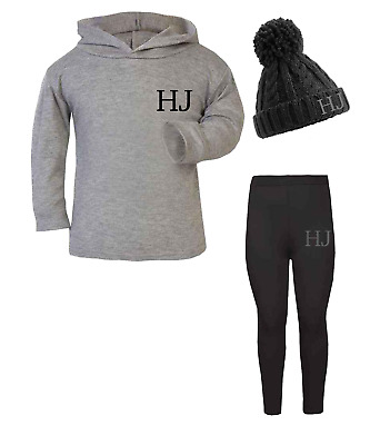 Personalised Initials Lounge Set and Beanie Hat Set Girls Boys Grey
