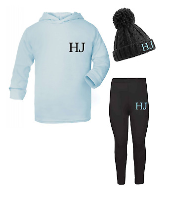 Personalised Initials Lounge Set and Beanie Hat Set Girls Boys Pale Blue