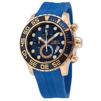 Invicta Pro Diver Chronograph Blue Dial Blue Polyurethane Men's Watch 19247