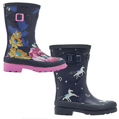 Joules Print Welly Kids Full Height Waterproof Boot Girls Reflective Wellington