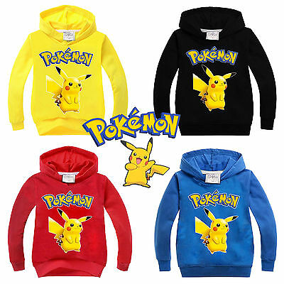 Pikachu Pokémon Kids Boy Girl Hoodies Sweatshirt T-Shirt Pullover Sweater Tops
