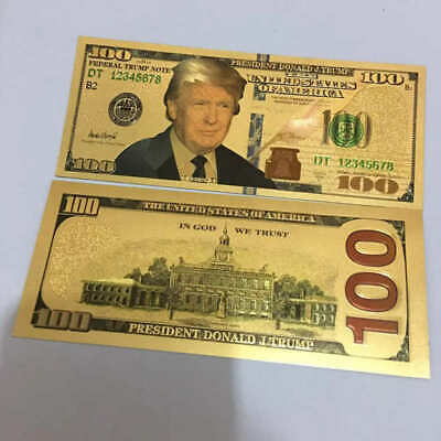 President Donald Trump Colorized $100 Dollar Bill Gold Foil Banknote US